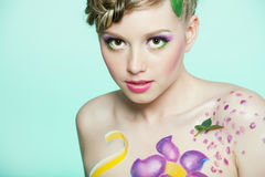 Portret van mooi meisje met bodyart Stock Foto
