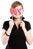 Portret van mooi meisje met grote lolly Royalty-vrije Stock Foto's