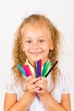 Portret van mooi meisje met multicolored tellers in handen Stock Foto's