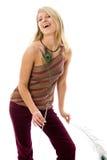 Portret van mooi meisje met pauw een veer. Stock Foto's