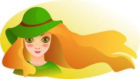 Portret van Mooi meisje met stromend haar. De zomerbehang Stock Fotografie