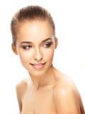 Portret van mooi meisje op witte achtergrond High-end retoucheert Royalty-vrije Stock Foto's