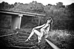 Portret van mooi meisje openlucht stock foto's