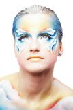 Portret van mooi model met de pa van het vlinderlichaam Royalty-vrije Stock Afbeeldingen