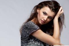 Portret van mooi model met luxesamenstelling Stock Foto's