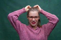Portret van mooi studentenmeisje stock fotografie