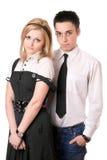 Portret van mooi studentenpaar. Geïsoleerdd Stock Fotografie