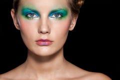 Portret van mooi vrouwenmodel. De foto van de manier Stock Afbeeldingen