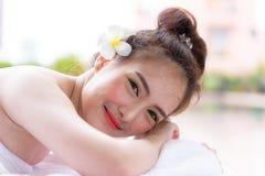 Portret van mooie Aziatische mensen met dichte omhooggaande mening en dicht Royalty-vrije Stock Foto