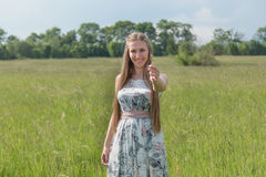 Portret van mooie blonde vrouw op een gebied stock foto's