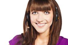 Portret van mooie, call centrewerknemer Royalty-vrije Stock Foto