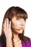 Portret van mooie, call centrewerknemer Stock Afbeeldingen