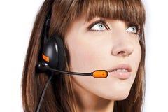 Portret van mooie, call centrewerknemer Stock Afbeelding