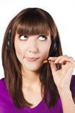 Portret van mooie, call centrewerknemer Stock Fotografie