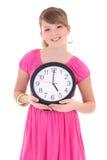Portret van mooie die tiener met klok over whit wordt geïsoleerde stock afbeeldingen