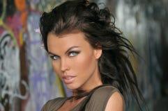 Portret van mooie donkerbruine mannequin met glamourmake-up stock foto's