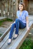 Portret van Mooie donkerbruine vrouw Royalty-vrije Stock Foto's