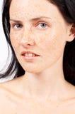 Portret van mooie donkerbruine vrouw Royalty-vrije Stock Foto