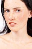 Portret van mooie donkerbruine vrouw royalty-vrije stock afbeelding