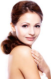Portret van mooie donkerbruine vrouwen Stock Foto