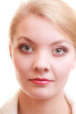 Portret van mooie geïsoleerde blondevrouw royalty-vrije stock foto