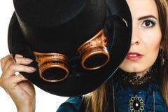 Portret van mooie geïsoleerde steampunkvrouw Stock Fotografie