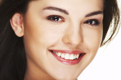 Portret van mooie gelukkige jonge vrouw Stock Afbeeldingen