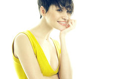 Portret van mooie glimlachende dame Royalty-vrije Stock Fotografie