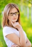 Portret van mooie jonge blond Stock Afbeeldingen