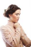 Portret van mooie jonge bruid in roze kleding Royalty-vrije Stock Foto's