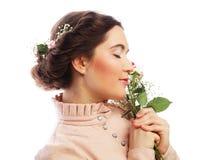 Portret van mooie jonge bruid in roze kleding Royalty-vrije Stock Afbeelding