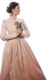 Portret van mooie jonge bruid in roze kleding Royalty-vrije Stock Foto