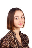 Portret van mooie jonge donkerbruine vrouw Stock Afbeelding