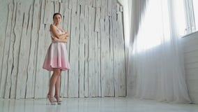 Portret van mooie, jonge vrouw met mooie samenstelling en elegant kapsel stock footage