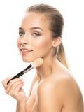 Portret van mooie jonge vrouw met samenstelling Stock Foto's