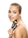 Portret van mooie jonge vrouw met samenstelling Stock Afbeeldingen