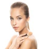 Portret van mooie jonge vrouw met samenstelling Royalty-vrije Stock Foto