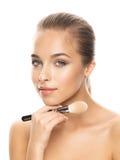 Portret van mooie jonge vrouw met samenstelling Stock Fotografie