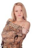 Portret van mooie jonge vrouwelijke dicht Stock Foto's