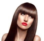 Portret van mooie maniervrouw met lang gezond bruin haar stock foto
