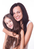 Portret van mooie moeder en dochter Stock Foto