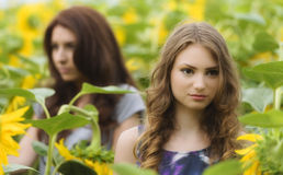 Portret van mooie twee gelukkige jonge vrouwen met lang binnen haar Stock Afbeeldingen