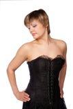 Portret van mooie vrouw in een zwarte kleding Stock Afbeelding