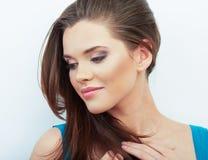 Portret van Mooie Vrouw Geïsoleerde witte achtergrond stock foto's