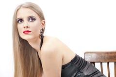 Portret van Mooie vrouw met avondsamenstelling Stock Fotografie