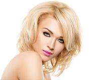 Portret van Mooie vrouw met blond haar Gezicht van manier royalty-vrije stock foto's