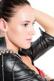 Portret van mooie vrouw met donkerbruin haar Stock Afbeeldingen