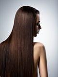Portret van mooie vrouw met lang recht bruin haar Stock Fotografie