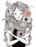 Portret van mooie vrouw met lange haren stock illustratie
