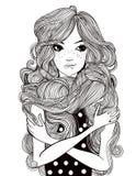 Portret van mooie vrouw met lange haren vector illustratie